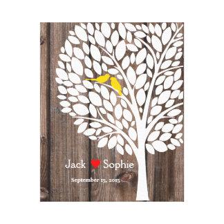 bois jaune d'oiseaux de guestbook de signature toiles