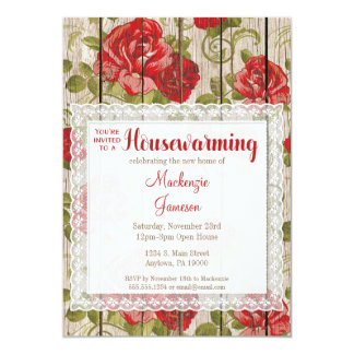 Bois rustique de dentelle d'invitation de carton d'invitation  12,7 cm x 17,78 cm