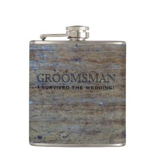 Bois rustique   Groomsman drôle de mariage Flasques