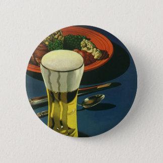 Boissons vintages de nourriture, verre de bière, badge rond 5 cm