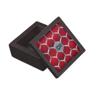 Boîte À Babioles De Première Qualité Motif géométrique octogonal rouge et argenté