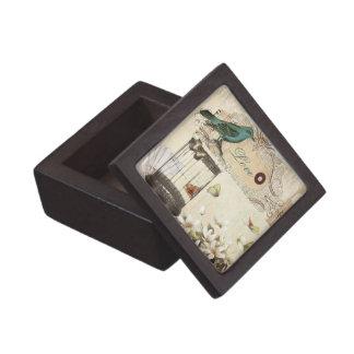 Boîte À Babioles De Première Qualité oiseau français vintage moderne de cage à oiseaux
