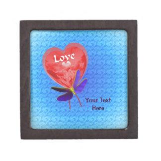 Boîte À Bijoux De Première Qualité Papillon rouge de ballon de coeur d'amour