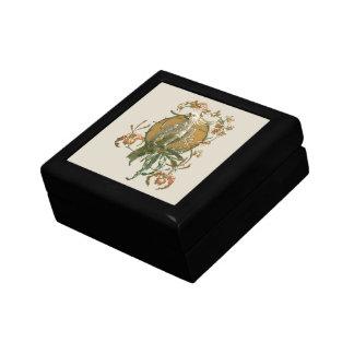 Boîte À Souvenirs Art vintage Nouveau, oiseau de cacatoès, fleurs