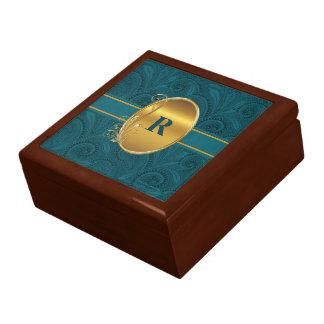 Boîte À Souvenirs Bijoux décorés d'un monogramme ou bibelot de paon