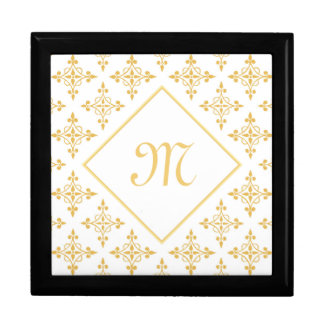 Boîte À Souvenirs Blanc de luxe et or Quatre de monogramme floral