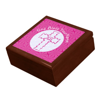 Boîte À Souvenirs Blanc rose croisé chrétien de zigzag de roses
