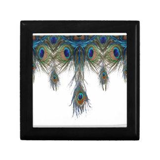 Boîte À Souvenirs bleu-vert-paon-plume-art