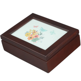 Boîte À Souvenirs Boîte à bijoux bleue florale d'art de fleur