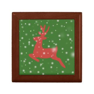Boîte À Souvenirs Boîte-cadeau de tuile de Noël de neige de renne,