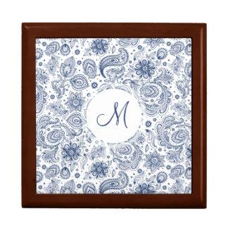 Boîte À Souvenirs Boîte-cadeau florale vintage bleue de monogramme
