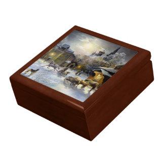 Boîte À Souvenirs Boîte russe de bibelot de peinture d'hiver