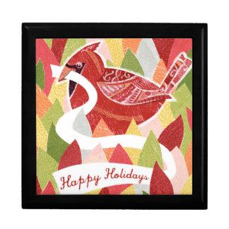 Boîte À Souvenirs Bonnes fêtes oiseau cardinal sur le feuille de