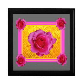 Boîte À Souvenirs Cadeaux gris de motif d'or rose de roses