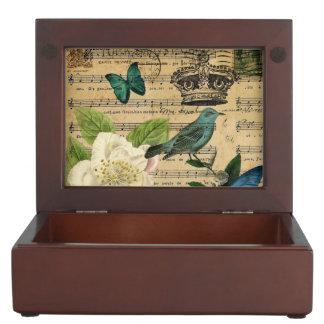 Boîte À Souvenirs camélia français botanique chic minable d'oiseau