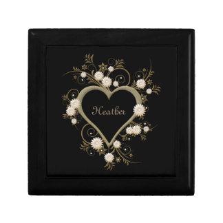 Boîte À Souvenirs Coeur et fleurs or et argent sur le noir