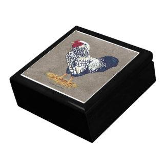 Boîte À Souvenirs Coq de Wyandotte lacé par argent