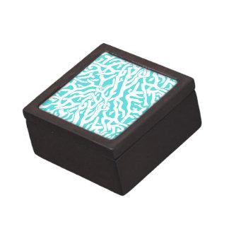 Boîte À Souvenirs De Première Qualité Bleu blanc nautique de motif de récif coralien de