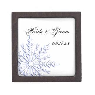 Boîte À Souvenirs De Première Qualité Flocon de neige bleu sur le mariage blanc d'hiver
