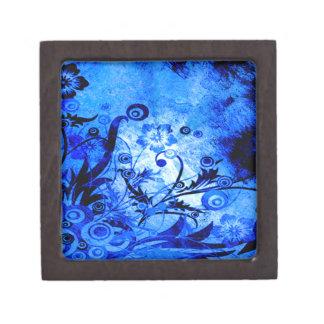 Boîte À Souvenirs De Première Qualité Remous floraux bleus