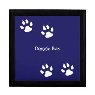 Boîte À Souvenirs Empreintes de pattes de chien sur le bleu