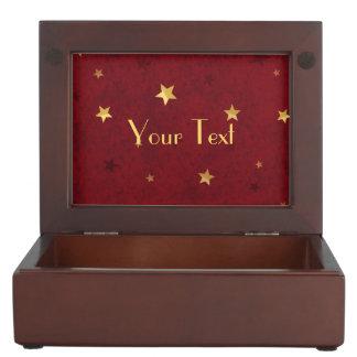 Boîte À Souvenirs Étoiles d'or rouges royales