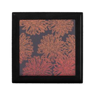 Boîte À Souvenirs Graphique floral orange et gris