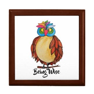 Boîte À Souvenirs Hibou magique d'aquarelle avec des plumes