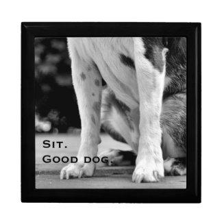 Boîte À Souvenirs Le chien reposent noir et blanc