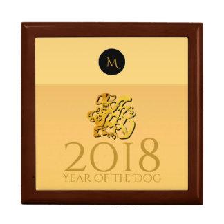Boîte À Souvenirs Monogramme 2018 chinois d'or de Papercut de chien