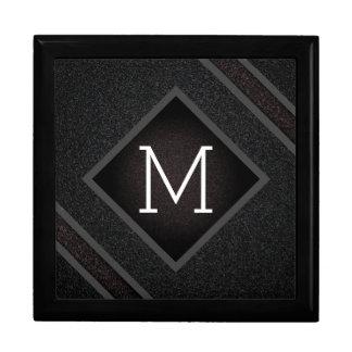 Boîte À Souvenirs Monogramme en pierre noir graveleux moderne de