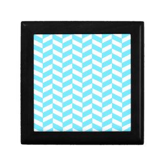 Boîte À Souvenirs Motif bleu lumineux blanc en arête de poisson de