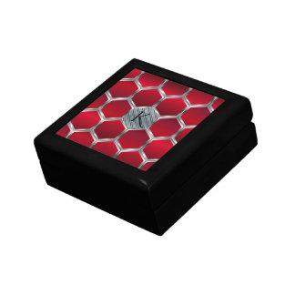 Boîte À Souvenirs Motif géométrique rouge et argenté décoré d'un