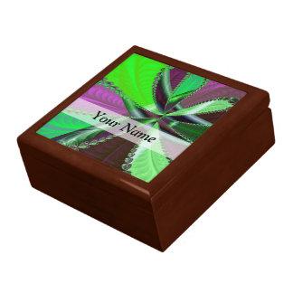 Boîte À Souvenirs Motif vert et pourpre de fractale
