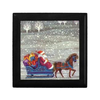 Boîte À Souvenirs Noël vintage, cheval Sleigh ouvert du père noël