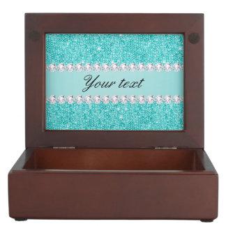 Boîte À Souvenirs Paillettes turquoises et diamants de Faux