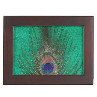 Boîte À Souvenirs Plume de paon sur le vert