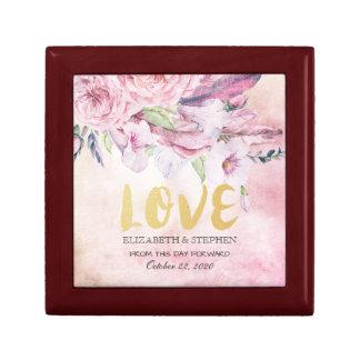 Boîte À Souvenirs Plumes florales d'aquarelle élégante de wedding