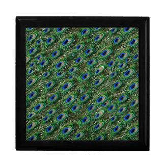 Boîte À Souvenirs plumes vertes sauvages de paon