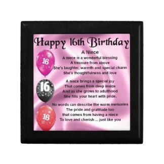 Boîte À Souvenirs Poème de nièce - 16ème anniversaire