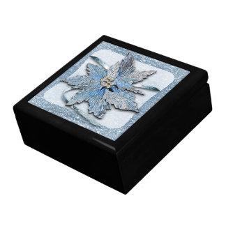 Boîte À Souvenirs Poinsettias bleues sur l'argent