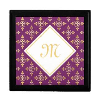 Boîte À Souvenirs Pourpre de luxe et or Quatre de monogramme floral