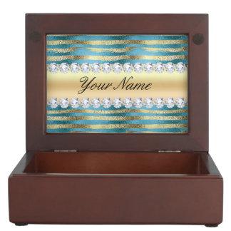 Boîte À Souvenirs Rayures de feuille d'or de Faux sur métallique