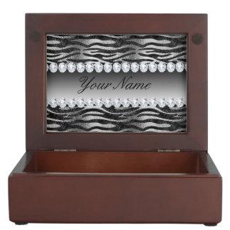 Boîte À Souvenirs Rayures noires de zèbre d'aluminium de Faux sur