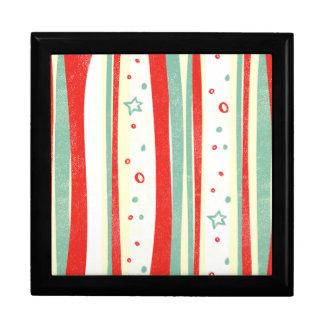 Boîte À Souvenirs Rayures verticales de vacances rouges et vertes de