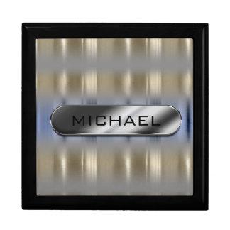 Boîte À Souvenirs Réflexions métalliques et plaque signalétique