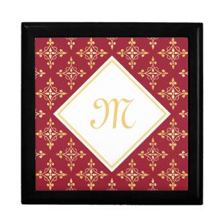 Boîte À Souvenirs Rouge de luxe et or Quatre de monogramme floral