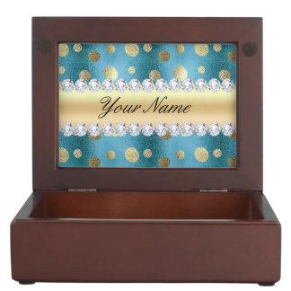 Boîte À Souvenirs Taches de feuille d'or de Faux sur le bleu