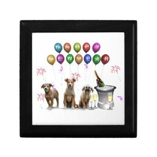 Boîte À Souvenirs Trois chiens mignons souhaitant la bonne année