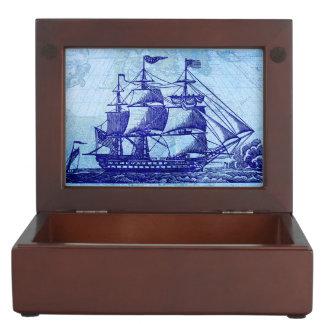 Boîte À Souvenirs Vieux nautique bleu de bateau et de carte de